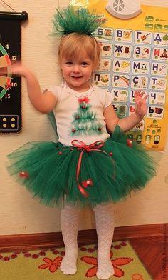 Новогодний костюм елочки - ярко-зелёный,однотонный,юбка туту,юбка пачка