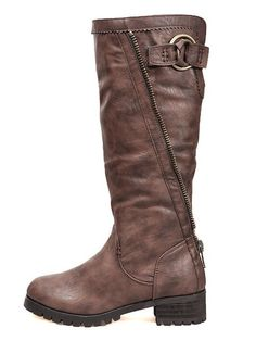 005eb8e62c09 Winter Fashion Buckle Round Toe Brown High Boots
