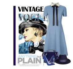 """""""Vintage Vogue ... Anything But Plain"""" by conch-lady ❤ liked on Polyvore featuring Valentino, Mark Cross, Christian Louboutin and vintage"""