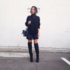 winter outfit - knee high boots, turtleneck sweater + mini skirt, blogger Aimee, Song of Style