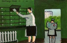 """Murzilka"", Markers and acrylic on paper, 24x16cm. 2016. Zoya Cherkassky-Nnadi"