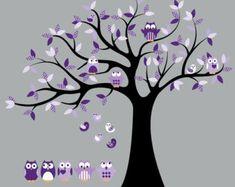 Muur stickers-Vinyl tree decal-kwekerij boom-Bird door wallinspired