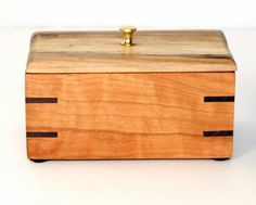 CHERRY WOOD BOX Spalted Maple Cover  Jewelery by vermontwoodnart, $40.00