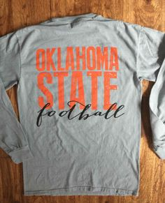 Oklahoma State on Grey Comfort Colors-Long Sleeve.*FREE SHIPPING