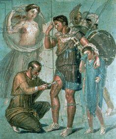 Aeneas injured, from Pompeii (fresco), Roman, (1st century BC) / Museo Archeologico Nazionale, Naples, Italy / The Bridgeman Art Library