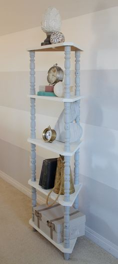 Two-Toned Shelf #DIY #furniturepaint #paintedfurniture #limitededition #coastal #beachy #rustic #distressed #howto #twotone #shelving - blog.countrychicpaint.com