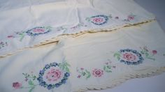 Vintage Queen Standard Pillow Cases Floral Embroidery Pair (2) Two Count / Blue by CuriousDiscoveries on Etsy