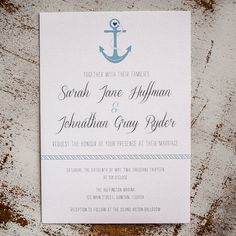 Nautical Wedding Invitation - featuring anchor and rope, 5x7, personalized and customized for your special day