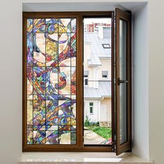 Non-Adhesive Decorative Privacy Window Film Static Cling Meridian x Stained Glass Door, Making Stained Glass, Tile Decals, Window Decals, Film Transparent, Window Privacy, Window Films, Static Cling, Pattern Wallpaper