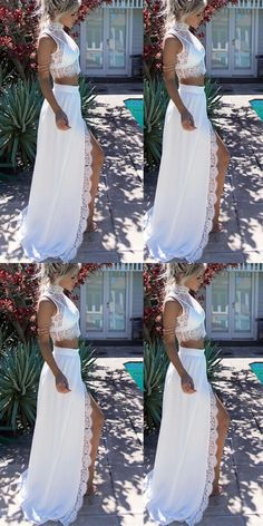 2019 New 2 Piece White Lace Prom Dresses Evening Gowns,High Neck Front Slit Party Dresses,Two Pieces Women Graduation Dresses Prom Dresses Two Piece, Prom Dresses 2017, Prom Party Dresses, Graduation Dresses, Dress Party, Pretty Dresses, Evening Dresses, Dress Lace, Life Goals
