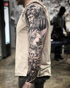 Gregcampbelltattoo based in Bondi Sydney, Australia . - Gregcampbelltattoo based in Bondi Sydney, Australia … – … – tattoo ideas - Forearm Sleeve Tattoos, Best Sleeve Tattoos, Tattoo Sleeve Designs, Leg Tattoos, Tattoos For Guys, Sleeve Tattoo Men, Arm Tattoo Men, Realistic Tattoo Sleeve, Zeus Tattoo