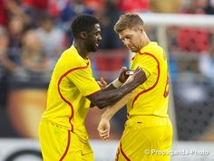Photo: Liverpool's Kolo Toure hands the captain's armband on to Steven Gerrard. #LFC #LFCTour #ICC2014