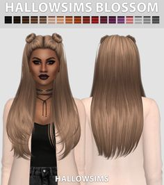 Hallow Sims: HallowSims Blossom ( 2 Versions ) - Sims 4 Hairs - http://sims4hairs.com/hallow-sims-hallowsims-blossom-2-versions/
