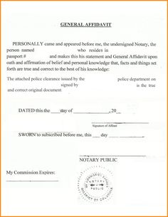 The Sample Of A Passport Affidavit Form Contains Information