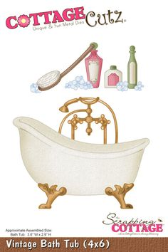 CottageCutz Vintage Bath Tub (4x6)