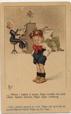 P1160 Young Boy Complains Is not Right by Mich Postcard   eBay