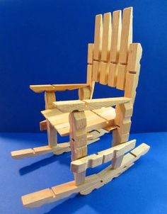 DIY Clothespin Rocking Chair: So Easy to Make, Instructables Wooden Clothespin Crafts, Wooden Clothespins, Clothes Pin Wreath, Clothes Pegs, Funky Painted Furniture, Painted Chairs, Painted Tables, Craft Stick Crafts, Crafts To Do