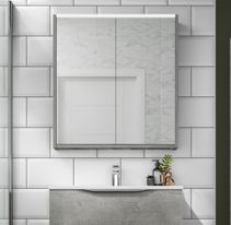 Grey mirrored bathroom cabinet from Utopia Neat And Tidy, Modular Bathrooms, Bathroom, Integrated Handles, Furniture, Contemporary Bathroom, Mirror Cabinets, Cabinet, Bathroom Mirror Cabinet