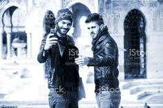 Two Young Men Are Shooting Selfie royalty-free stock photo