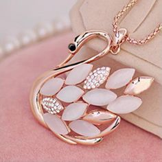 Women's Elegant Crystal Swan Necklace Hot Sale Sweater Necklace Luxury Party Bijoux Rose Gold Snake Chain #Affiliate
