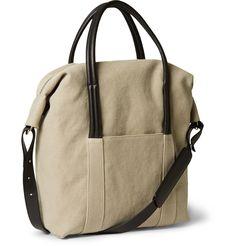Maison Martin Margiela - Leather-Trimmed Cotton-Canvas Holdall Bag|MR PORTER