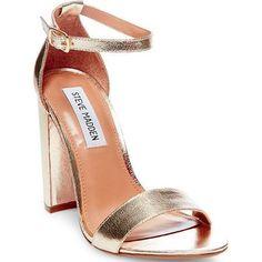 Steve Madden Carrson Leather Sandals Women's Silver 10