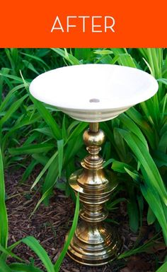 how to turn a lamp into a birdbath