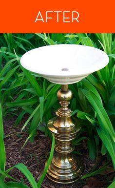 how to turn a lamp into a birdbath