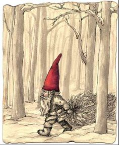 Gnome with Tree Use a shadow box and add real birch twigs Swedish Christmas, Christmas Gnome, Scandinavian Christmas, Christmas Art, Troll, Vintage Christmas Cards, Pixies, Wicca, Illustration