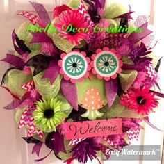 A personal favorite from my Etsy shop https://www.etsy.com/listing/224464296/cute-spring-owl-wreathspring-wreathpink