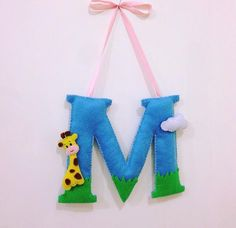 handmade felt M letter with cute little giraffe