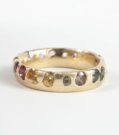 POLLY WALES Medium Band - multi color sapphires, yellow gold