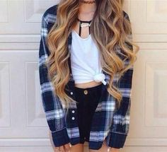 Adorable Flannel Outfits Ideas For This Season Outfits For Teens, Casual Outfits, Fashion Outfits, Teens Clothes, Plaid Outfits, Teen Clothing, School Outfits Tumblr, Summer School Outfits, Teen Fashion