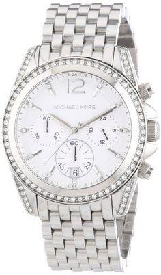 6fea649867f4 Michael Kors Watches   Michael Kors MidSize Silver Color Pressley  Chronograph Glitz Womens watch MK5834 Michael