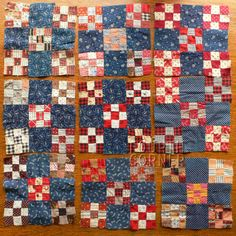 9 Gorgeous Indigo Blue Scrapbag Double Nine Patch Circa 1890's Quilt Blocks | eBay, fourthcornerfinds
