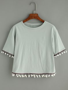 Green Embroidered Tape Detail T-shirt With Pom Pom.