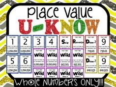 "Place Value U-Know Game: Whole Numbers to Millions ONLY  Kids LOVE practicing their place value with Place Value U-Know!!  Played just like regular UNO but with a twist.  You must answer the place value question on the card when you throw it or ""Draw 2!"""