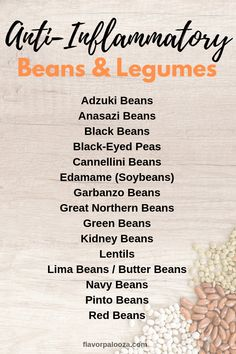Your Complete Anti-Inflammatory Foods List {Cheat Sheets} On an anti-inflammatory diet? Here's a complete list of anti-inflammatory beans and legumes to choose from. Low Fat Diets, No Carb Diets, Anti Inflammatory Foods List, Low Carb Meal, Think Food, Diet Meal Plans, Best Diets, Food Lists, Pcos Food List