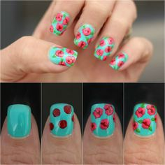 Roses are red, violets are blue, these nails are cute and easy to do! -16 Truly Awesome Nail Design Techniques