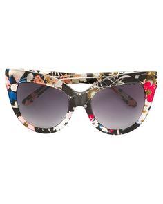 ddaa3796593 Linda Farrow - Gray Floral Cat Eye Sunglasses - Lyst