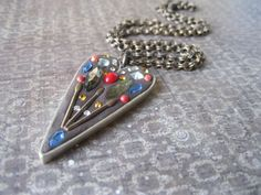 modern heartshaped mosaic assemblage pendant by maxandlucie, $59.00