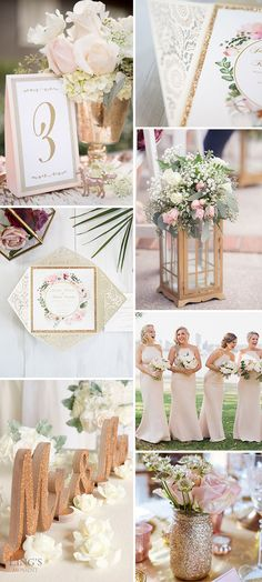 ivory, gold and blush country wedding color ideas