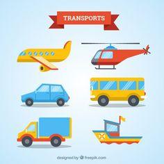 Coleção Transportes design plano Vetor grátis