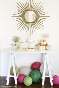 Mod meets Vintage Bridesmaid luncheon with menu - dessert and gift table / Celebrations At Home blog