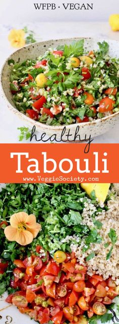 Healthy Bulgur Wheat Salad Recipe aka Tabouli with Parsley, Tomatoes, Scallions and Lemon | VeggieSociety.com #PlantBased #Vegan #Salads #WFPB