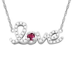 10k Gold Designer 'Love' Cubic Zirconia Accent Birthstone Necklace (Yellow Gold Oct Pink Tourmaline), Women's, Size: 18 Inch