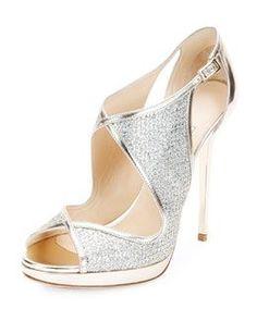 S0B52 Jimmy Choo Leondra Glitter & Leather Evening Sandal, Champagne
