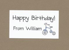 Children's Tricycle Gift Enclosure Cards - Calling Cards for Kids by CardsByKooper on Etsy