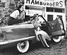 Pinups on a road trip, 1950s.