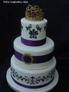 Purple Princess - Jackie's Quincea?era cake!  gumpaste tiara cake cover with marshmallow fondant.